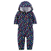 Baby Girl Carter's Heart Print Hooded Jumpsuit