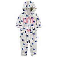 Baby Girl Carter's Polka-Dot Hooded Jumpsuit