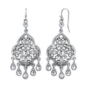 1928 Crystal Filigree Teardrop Chandelier Earrings