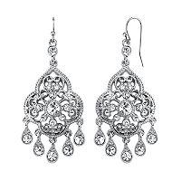 1928 Crystal Filigree Teardrop Chandelier Earrings