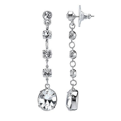 1928 Crystal Oval Linear Earrings