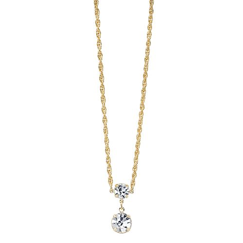 1928 Crystal Gold-Tone Double Drop Necklace