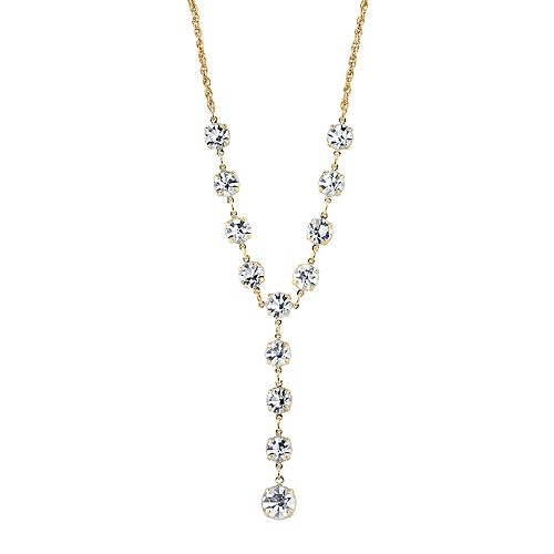 1928 Crystal Gold-Tone Graduated Y Necklace