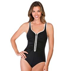 Women's Reebok Zip-Front Ruched One-Piece Swimsuit