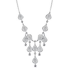 1928 Crystal Filigree Teardrop Necklace