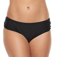 Women's N Solid Shirred Hip Minimizer Hipster Bikini Bottoms