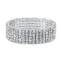 1928 Simulated Crystal Multi Row Stretch Bracelet