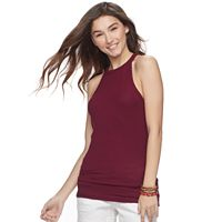 Juniors' SO® High Neck Ribbed Tank