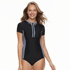 Women's N Tribal Print Zip Front Waist Minimizer Rash Guard