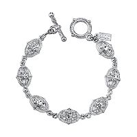 1928 Crystal Textured Oval Link Toggle Bracelet