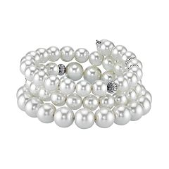 1928 Simulated Pearl Coil Bracelet