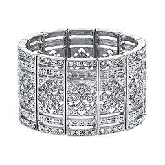 1928 Crystal Art Deco Bar Link Stretch Bracelet