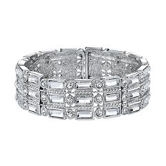 1928 Simulated Crystal Baguette Stretch Bracelet