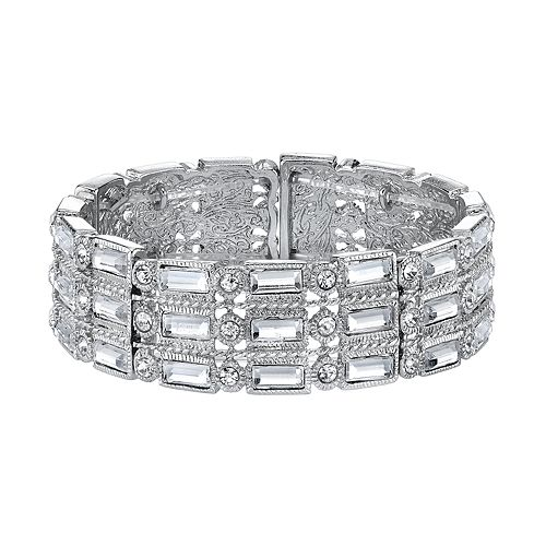 1928 Simulated Crystal Baguette Stretch Bracelet