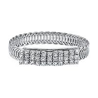 1928 Crystal Overlapping Circle Bangle Bracelet
