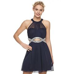 Juniors' Speechless Halter Embellished Mini Dress