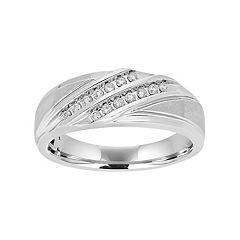 Men's 10k White Gold 1/5 Carat T.W. Diamond Diagonal Striped Ring
