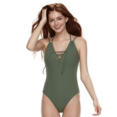 Ribbed Lace-Up One-Piece Swimsuit
