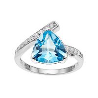 Sterling Silver Sky Blue Topaz & Cubic Zirconia Bypass Ring