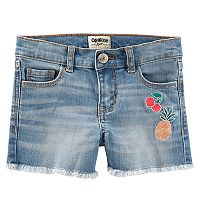 Girls 4-12 OshKosh B'gosh® Frayed Hem Fruit Embroidered Jean Shorts