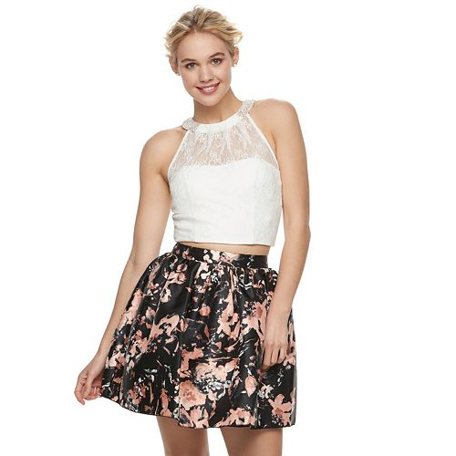 0ad39219ce Juniors' Speechless Floral Lace Halter Top & Skirt Set
