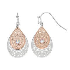 LC Lauren Conrad Two Tone Filigree Double Teardrop Nickel Free Earrings