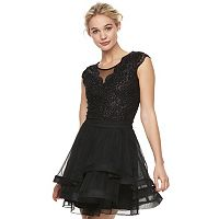 Juniors' Speechless Glitter Lace Tiered Dress