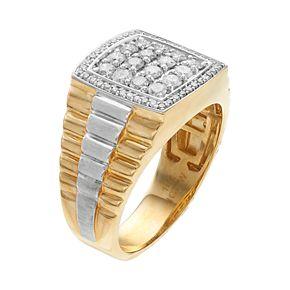 Men's Two Tone 10k Gold 1 Carat T.W. Diamond Cluster Ring