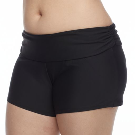 Plus Size N Solid Roll Top Thigh Minimizer Swim Shorts