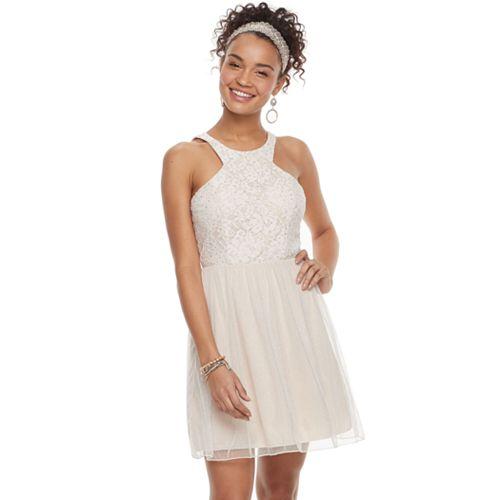 699b488a00 Juniors' Speechless Lace Halter Prom Dress
