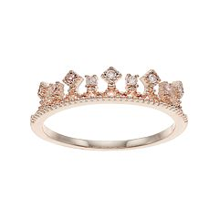 LC Lauren Conrad Cubic Zirconia Crown Midi Ring