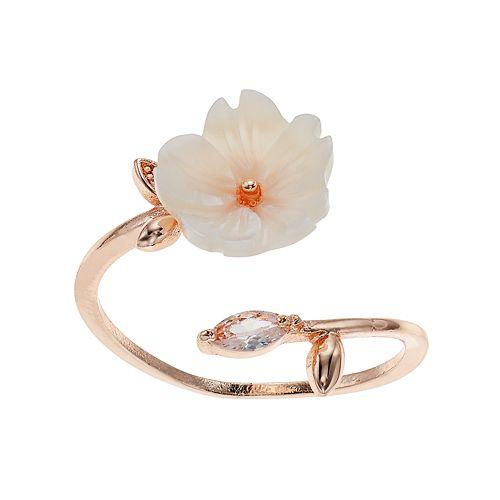 LC Lauren Conrad White Flower Openwork Ring