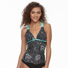 Mix and Match Patchwork Strappy X-Back Tankini Top