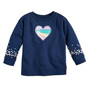 Baby Girl Jumping Beans® Heart & Polka-Dots Crew Pullover Top
