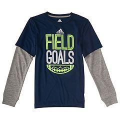 Boys 4-7x  adidas 'Field Goals' Football Mock-Layer Tee