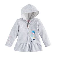 Baby Girl Jumping Beans® Flower Peplum Zip-Up Hoodie