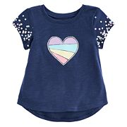 Baby Girl Jumping Beans® Heart & Polka-Dots Slubbed Graphic Tee