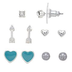 LC Lauren Conrad Arrow & Heart Nickel Free Stud Earring Set