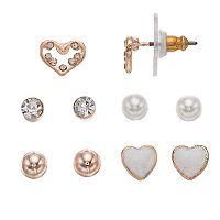LC Lauren Conrad Heart & Ball Stud Nickel Free Earring Set