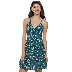 Juniors' Love, Fire Floral Surplice Dress