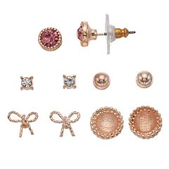 LC Lauren Conrad Bow & Ball Nickel Free Stud Earring Set