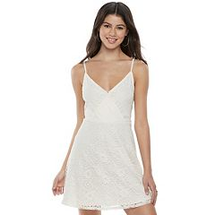 Juniors' Love, Fire Lace Surplice Slip Dress