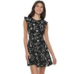 Juniors' Love, Fire  Floral Ruffle Sleeve Skater Dress