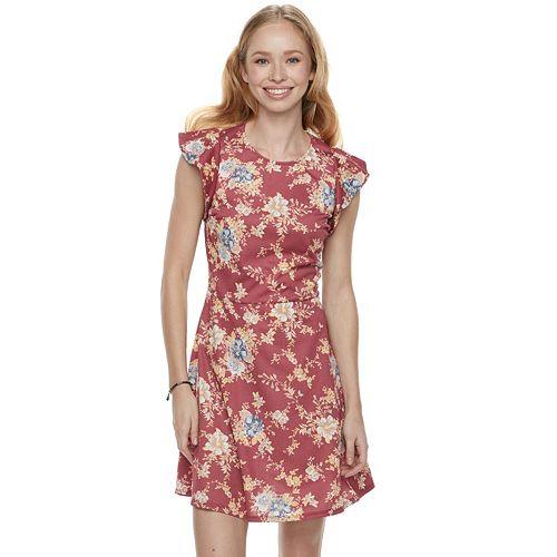 Juniors' Love, Fire  Floral Ruffle Sleeve Skater Dress