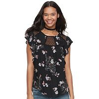 Juniors' Rewind Floral Flutter Sleeve Top