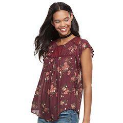 Juniors' Rewind Floral Flutter Sleeve Top