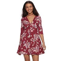 Juniors' About A Girl Floral Knot-Front Swing Dress