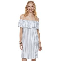 Juniors' Love, Fire Striped Off-the-Shoulder Twill Dress