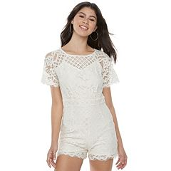 Juniors' Love, Fire Lace Romper