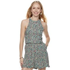 Juniors' Love, Fire Halter Woven Romper